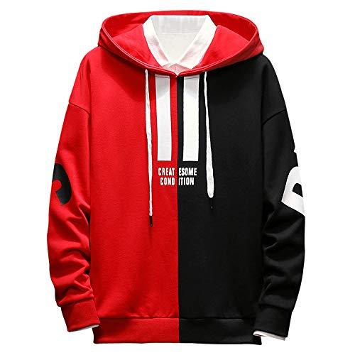ZAFUL Herren Herbst Winter Kapuzenpullover Streetwear Jacke Hoodie Sweater Sweatshirt Rot XL Size