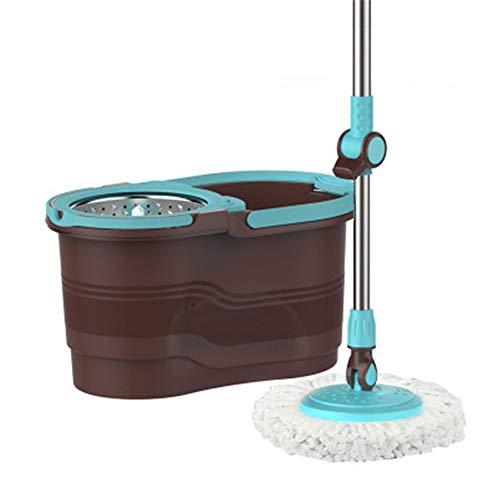 GYJ 360 ° Schleudermop/Edelstahl/Magie mit abwaschbaren Mikrofaser-Mopsköpfen Verstellbare Stange für die Bodenreinigung der Küche im Haus Wet Dry Usage auf Hartholz & Fliesen
