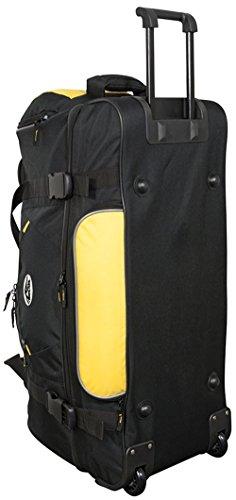 Trolleytasche Koffertrolley Sporttasche Reisetasche mit Trolleyfunktion aus 600D Nylon Gewebe - Modell Rhodos - Farbe Schwarz / Blau Schwarz-Gelb