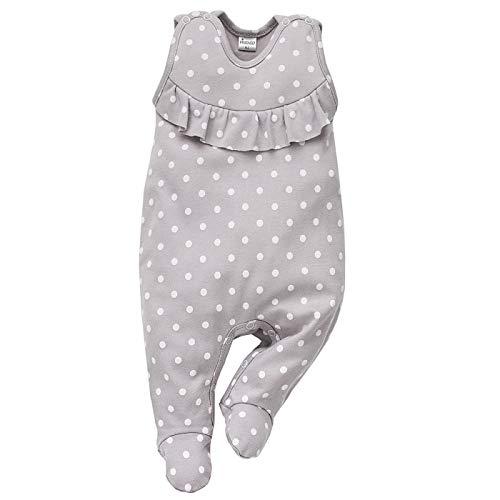 Pinokio - Einhorn Kollektion - Baby Mädchen Strampler 100% Baumwolle, grau mit Punkten in weiß, Allover Bedruckt. Strampelanzug/Schlafanzug ärmellos (50)