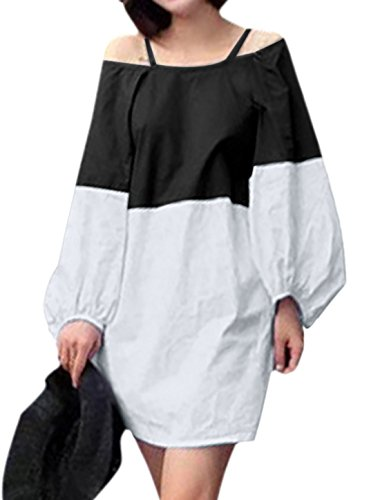 Femme Bretelles Spaghetti Bishop Manche Épaule Ajourée Robe Noir