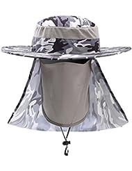Moresave Casquette unisexe couverture du cou snap Brim oreille camouflage casquette de protection solaire pour la randonnée de pêche