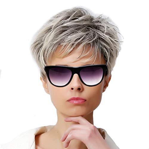 PKQ® Perücken Damen Silber Grau Mix Kurz Haar Natural Locken Perrücke Faser Kunsthaar Wig