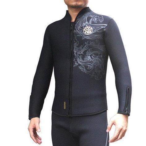 PAWHIT Neoprenanzug Top 5 mm Lange Ärmel Thermo-Neoprenanzug Jacke für Herren und Frauen XL Schwarz -