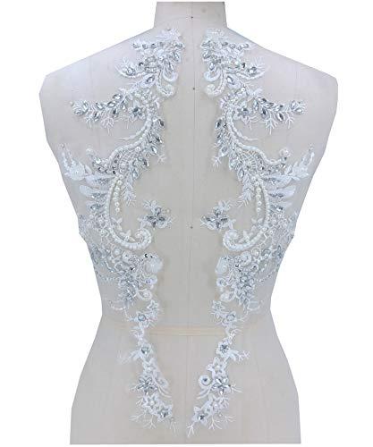 Atemberaubende Kristall-Blumenapplikation, bestickt mit Perlenspitze, Strass-Motiv für Hochzeitskleid, Abschlussball Kleider - Atemberaubendes Ballkleid