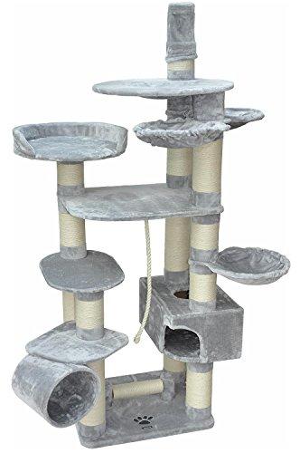 nanook Kratzbaum Katzenkratzbaum XXL Taurus grau - 15 cm Kratzstämmen für große schwere Katzen - sehr stabil - viele Liegemulden - deckenhoch