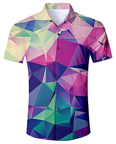 RAISEVERN Mode Männer beiläufige Hawaiihemd Regular Fit Kurzarm-Geometrie gedrucktes Kleid Shirts (Shirt Männer Für Kurzarm-kleid)