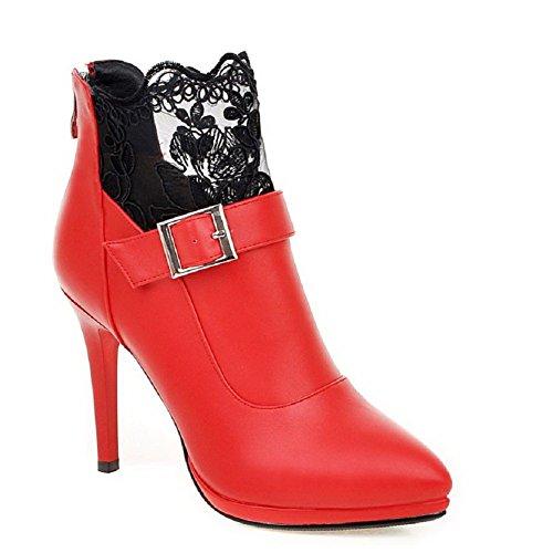 VogueZone009 Donna Luccichio Cerniera Scarpe A Punta Stiletto Bassa Altezza Stivali Rosso