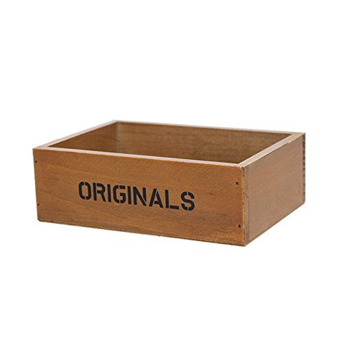 fablcrew Caisse de bois Epicerie Boîte de stockage de décombres Pot pour plante 19 * 13 * 6.5 cm 19cm*13cm*6.5cm marron