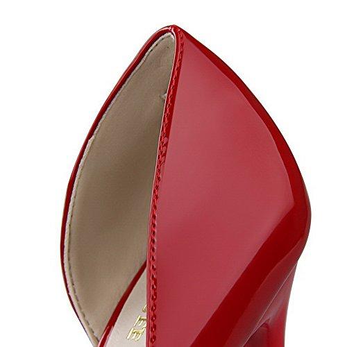 AalarDom Femme Pointu Tire à Talon Haut Couleur Unie Chaussures Légeres Rouge-Verni