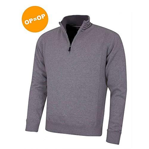 Island Green Herren 1/2 Zip Neck Lined Pullover, Mid-Grey/Black, XL