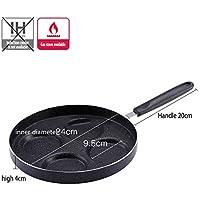 Klicop Pan de 4 tazas de pan de hierro frito Pan Pancake Pan Burger Omelet Plancha de cocina (Color : Black)