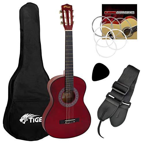 Tiger - Guitarra de concierto (tamaño 1/2, incluye accesorios), color rojo