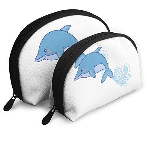 Portable Shell Makeup Storage Bags Cute Dolphins Funny Logo Travel Waterproof Toiletry Organizer Clutch Pouch for Women -