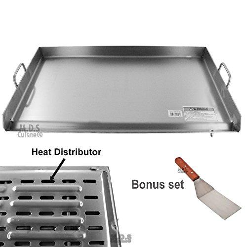 M.D.S Cuisine Cookwares Grillplatte aus Edelstahl mit verstärkten Klammern unter dem Grill, Hitzeverteiler, robust, Comal Plancha 91,4 x 55,9 cm