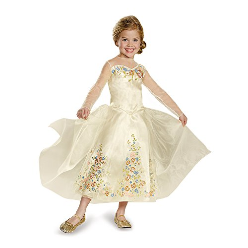 Disguise Cinderella Movie Wedding Dress Deluxe Costume, X-Small (3T-4T) -