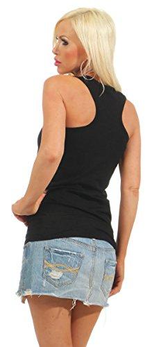 5583 Fashion4Young Damen Tank-Top Damentop Shirt Top Slim fit Unterhemd Basic Ringer-Top Schwarz