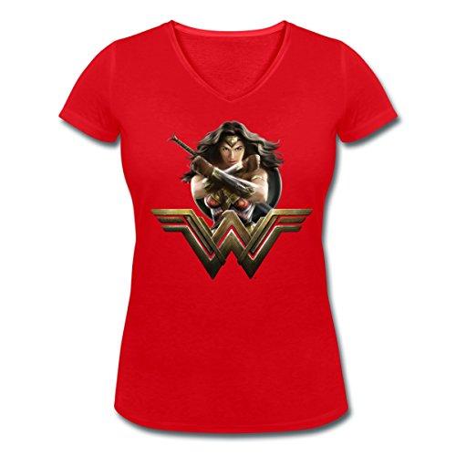 Warner Bros Wonder Woman Pose Et Logo T-shirt col V Femme de Spreadshirt® Rouge
