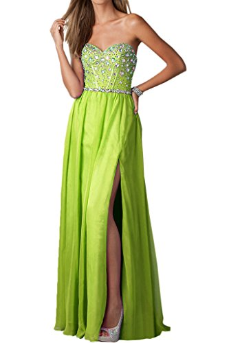 Ivydressing Damen Schlitz A-Linie Promkleid Chiffon Lang Ballkleider Festkleid Abendkleid Grün