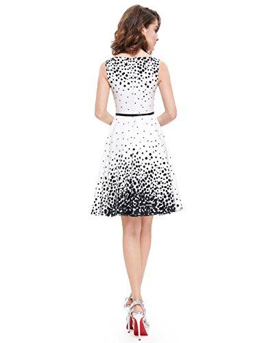 Ever Pretty Robe Courte Casual a la mode simple sans Manches 05446 Blanc et Noir