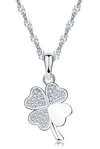 Yumilok 925 Sterling Silber Zirkonia Roségold/Silbe Vierblättriges Kleeblatt Anhänger Halskette Kette mit Anhänger für Damen Mädchen (Silber)