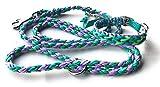 Viva Nature Handgemachtes Hunde-Halsband MIT Leine im Set/verstellbar\ Paracord-PP-Flechtleine/Geflochten/Hund (Türkis Violett)