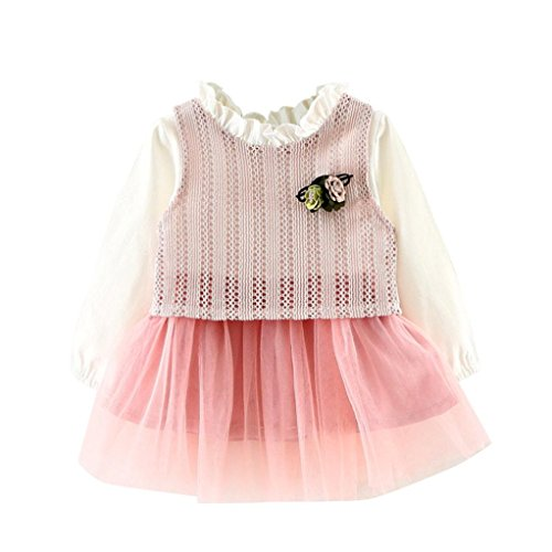 0-3 Jahr Kleinkind Kinder Bubble Kleid, DoraMe Baby Mädchen Party Kleid Puppenkragen Prinzessin Kleid Knit Mesh Garn Grenadine Kleid Patchwork Gefälschte Zwei (Rosa, 3 Jahr) (Bubble Kleid Schuhe)