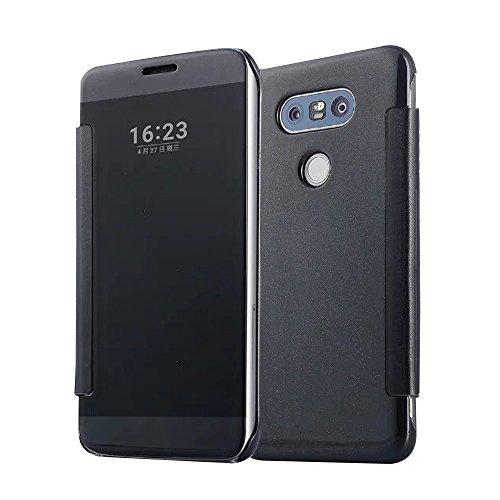 Cuitan Luxus Electroplate Spiegel PC Flip Hülle (PU Leder Verbinden) für LG G5, Mode Kreative Entwurf Plating Mirror PC Hart Schutzhülle Handyhülle Handytasche Tasche Case Cover - Schwarz