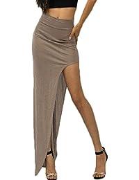 d335bfc76111d2 Minetom Frauen Damen Sexy Sommerkleid High Waist weicher Bund Maxi  Ausgestattet Lange Trendy Partei…