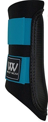 WOOF WEAR CLUB BRUSHING BOOT EN NOIR/TURQUOISE - TOUT NEUF COULEUR POUR 2015 - CHEVAL PONEY