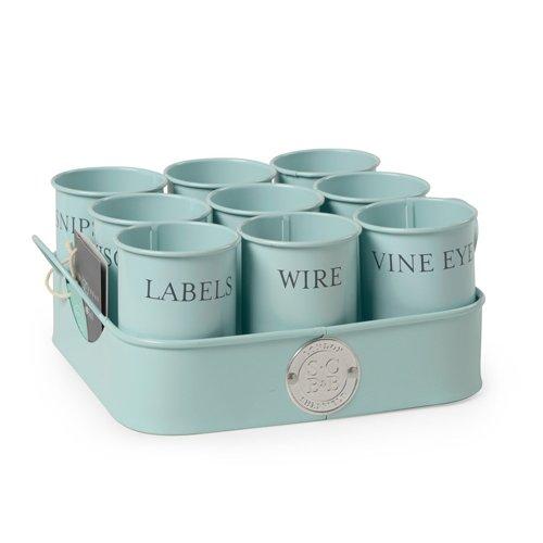 Burgon & Ball Sophie Conran Pots de rangement avec plateau pour petit matériel de jardinage Bleu