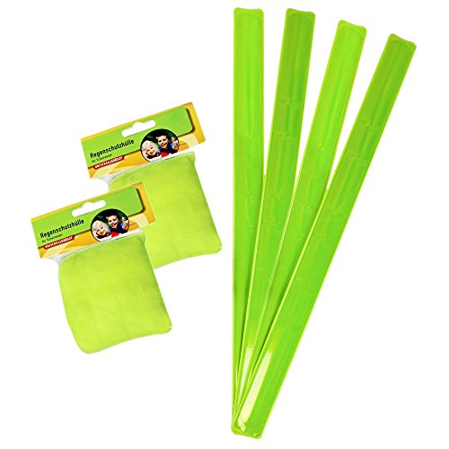 com-four Regenschutzhülle für Schulranzen und Reflektorbänder in Neon-Grün - Auffallen, aber sicher! (2X Regenschutzhülle + 4X Reflektorbänder)