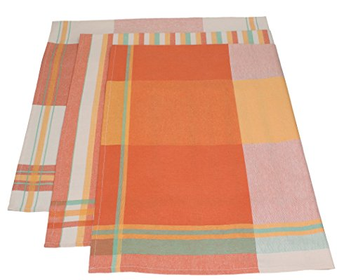 3 Piece Set, Tea Towels Mediterranean Colours: Orange, Yellow And Green,  Size: 50 X 70 Cm