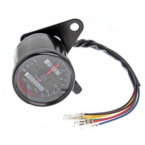 Universell Motorrad Tachometer Dual Odometer LED Licht Tacho Gauge KMH Kilometerzähler Speedometer