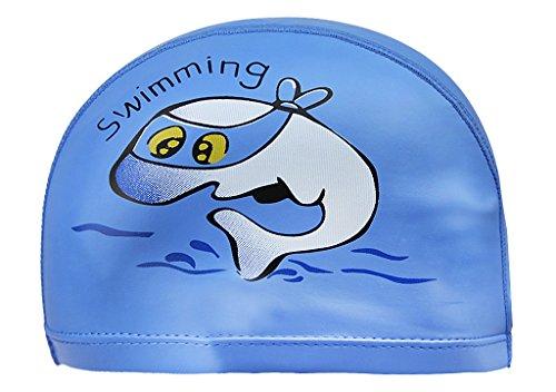 Kinder Badekappe Cartoon PU-beschichtetes Bademütze Mädchen Jungen Ohrenschutz Badehaube Schwimmen Hut (Atmungsaktiv, elastisch, leicht)