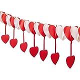 Herzgirlande rot/weiß mit hängenden Herzen, 400 cm, schwer entflammbar