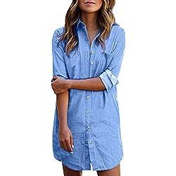 StyleDome Mujer Blusa Camisa Vaquera Larga Mangas Largas Casual Elegante Oficina Azul EU 48
