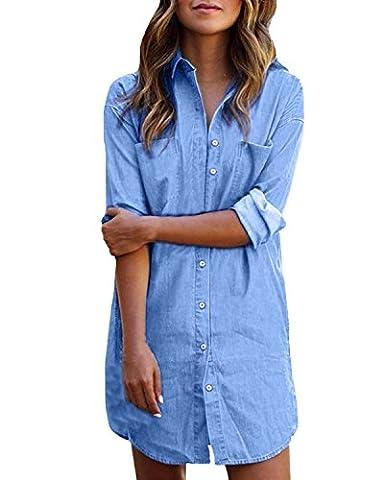 StyleDome Women's Sexy Denim Button Down Pocket Long Sleeve Tops Jeans Shirt Short Dress Light Blue UK