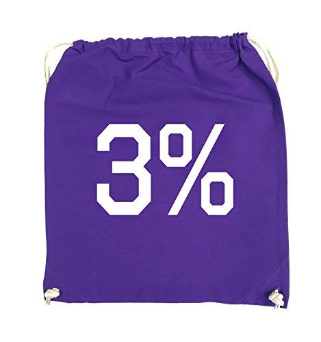 Borse Comiche - 3% - Logo - Turnbeutel - 37x46cm - Colore: Nero / Rosa Viola / Bianco