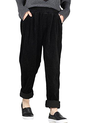 MatchLife Femmes Velours Côtelé Pantalons avec Poches Noir
