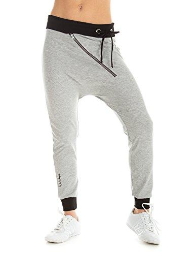 Winshape Damen Trainingshose Freizeit Dance Zipper, Grey Melange, M, WH4
