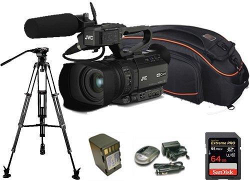 Kit Camcorder GY-HM170 JVC 4K ULTRA HD with handled, microphone JVC MIC-QAN0067 + 1 Battery + 1 Battery charger + 1 Memory Card Sandisk 64Gb - 95Mb + Bag + Tripod