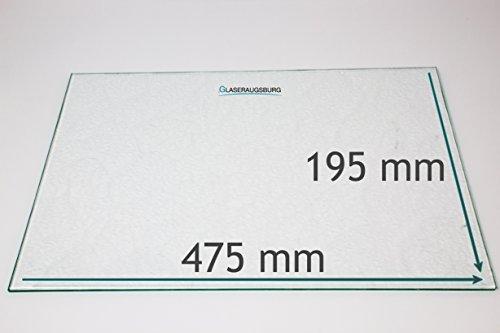 Kühlschrank Einlegeboden/Glasplatte / Gemüsefach – Strukturglas 4 mm dick – 475 mm x 195 mm - Direkt vom Glasereifachbetrieb!!!