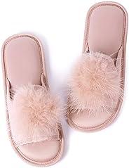 Caramella Bubble Open Toe Fur Summer Slippers Fluffy Slides for Women Pom Pom Slip on
