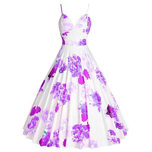 Damen Vintage Floral Swing Kleid Plus Größe S-5XL Spaghettiträger ärmellos 1950er Jahre Rockabilly Audrey Hepburn Retro V-Ausschnitt Schnitt ausgestellt Hochzeit Brautjungfer Kleider Knielänge -