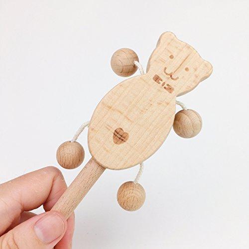 Mamimami Home Baby Spielzeug Buche Holz Bär Teether Rattle Montessori Spiel Gym Baby Krippe Spielzeug Sensorische Aktivität Teether Rattle (Kluge Bär)
