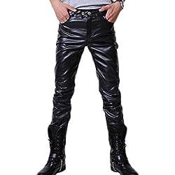 Hombre Moto Pantalones de cuero - Juleya Pantalones de PU cuero suave Pantalones casuales ajustados Pantalones de motociclista con cinturón Negro Oro Plata M-3XL