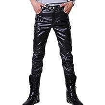 Hibote Hombre Moto Pantalones de Cuero Pantalones Casuales Ajustados con cinturón Pantalones de PU Cuero Suave