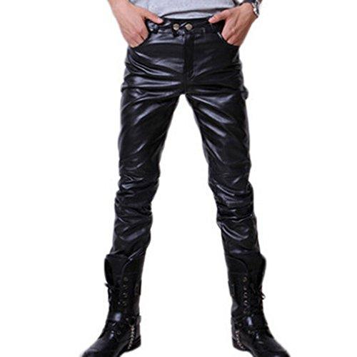 Juleya Hombre Moto Pantalones de Cuero Pantalones de PU Cuero Suave Pantalones Casuales Ajustados Pantalones de Motociclista con cinturón Negro Oro Plata M-3XL