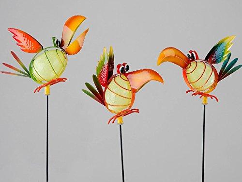 Gartendeko Gartenstecker Vogel Rico mit Leuchtkörper sortiert 1von3 Modellen
